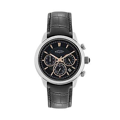 Rotary Men's Quartz Watch With Black Dial Chronograph Display And Black Leather • 130.95£