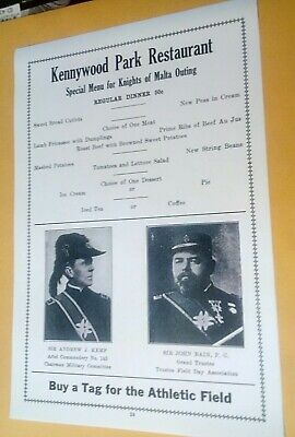 $4.90 • Buy 1915 Kennywood Amusement Park Restaurant Menu 50c Knights Of Malta Pittsburgh PA