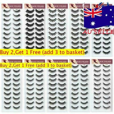 AU11.03 • Buy 10 Pairs 3D Mink Hair Volume Long Full Strip Lashes Extension False Eyelashes AU