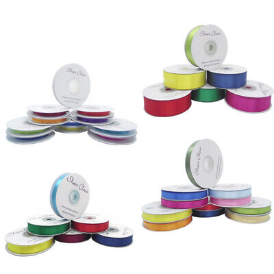 £2.49 • Buy New Double Faced Satin Ribbon 25 Metre Rolls Various Colours And Widths