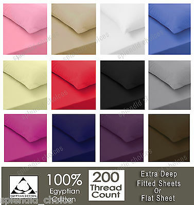Luxury 100% Egyptian Cotton Fitted Sheet Flat Sheets 200TC Single Double King • 9.95£