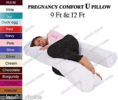 9Ft/12Ft U Pillow Body/Bolster Support Maternity Pregnancy Support Pillow/Case • 6.95£