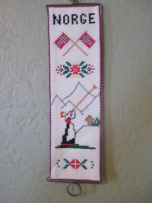 Norway NORGE Counted Cross-Stitch Complete Kit ~3x11  Aida/Pattern/Hangers/Floss • 5.71£