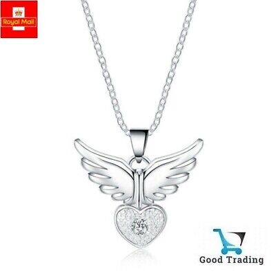 £3.99 • Buy Quality 925 Sterling Silver Angel Wing Heart Crystal Gem Pendant Necklace UK NEW