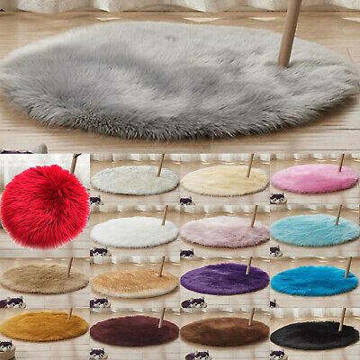 AU21.84 • Buy Round Soft Shaggy Area Bedroom Rug Faux Fur Anti-Skid Carpet Floor Fluffy Mats