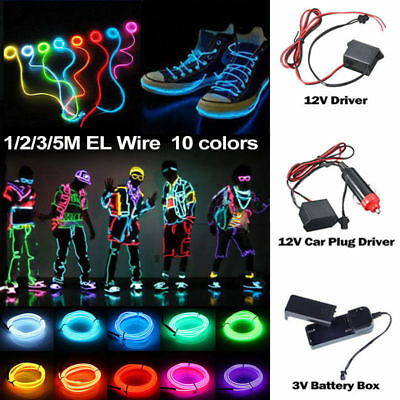 $6.99 • Buy Neon LED Light Glow EL Wire String Strip Rope Tube Decor Car Party + Controller
