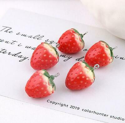 £2.69 • Buy 5pcs Cute Strawberry Pendant  Handmade Earrings Necklace Jewelry Accessories