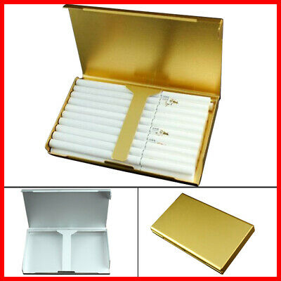 Elegant 20 Box Cigarette Case Wiredrawing Gold Slim Holder Aluminum S6 Thin • 3.99£