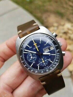 $ CDN1971.89 • Buy Lemania Vintage Day/Date Chronograph (5012) Watch - Herringbone Blue, Automatic