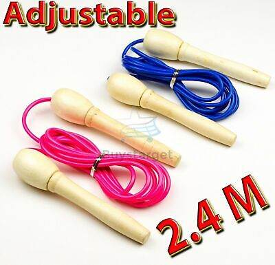 £3.95 • Buy 🔥 Kids Skipping Rope Adjustable Wooden Children Exercise Jumping Game Fitness
