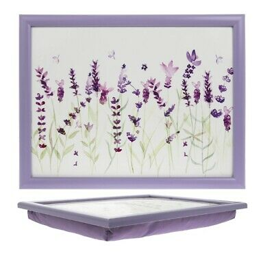 New Bean Bag Lavender Floral Cushioned Lap Tray Food Serving Storage Lap Tray • 11.95£