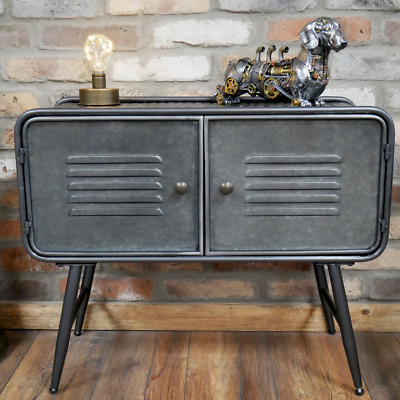 Industrial 2 Door Metal Cabinet Media Storage Unit Vintage Side End Lamp Table • 82.99£