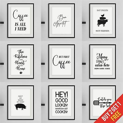 Kitchen Prints Framed Wall Art For Kitchen Funny Quote Prints Black And White • 6.49£