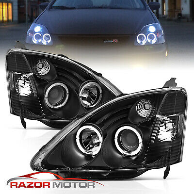 $170.96 • Buy 02-03 Honda Civic Si EP3 Dual Angel Eye Halo Projector Black Headlights Lamps