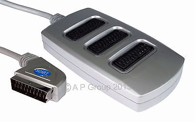 3 Way Scart Lead Cable Wire Splitter Adaptor Switch Box  Premium Quality Silver • 5.80£