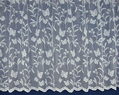 £3.40 • Buy Meadow Butterfly Design White Lace Net Curtains - Sold By The Metre