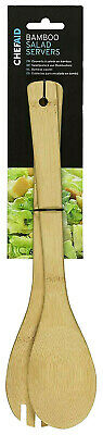 £3.85 • Buy 2 X Chef Aid Bamboo Salad Pasta Servers Spoon Fork BBQ Kitchen Dining Utensils