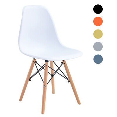 £23.99 • Buy Retro Eiffel Dining Chair Office Kitchen Lounge Chair Plastic Seat Wooden Legs