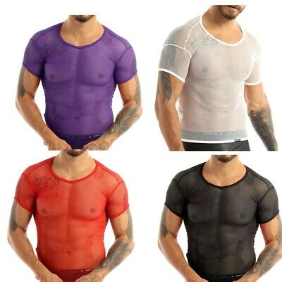 UK Summer Men T-shirt Mesh See Through Clubwear Tank Vest Shirt Short Sleeve Top • 4.95£