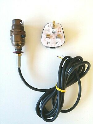 Old English Brass Pre-wired Table Lamp Rewire Kit Switched 2.5m Black Flex • 7.95£