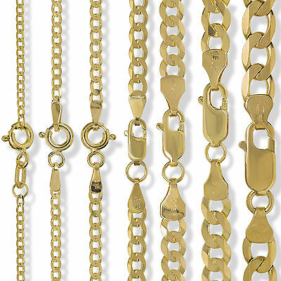 9ct Gold Curb Chain Diamond Cut Flat Trace Rope Figaro D/c Necklace Bracelet Box • 76.99£