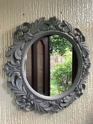 Vintage Grey Filigree Round Wall Mirror Rustic Grey Hallway Bathroom Mirror 51cm • 21.99£