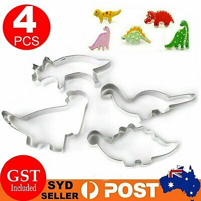 AU7.89 • Buy 4x Stainless Steel Dinosaur Fondant Biscuit Cookie Pastry Mold Cutter Cake Mould