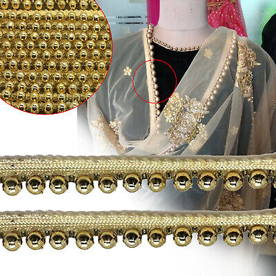 Gold Vintage Style Pearl Beaded Lace Trim Ribbon 2 Yard Wedding Dress Applique • 3.55£