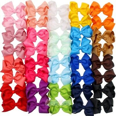 $12.75 • Buy 40 Pcs In Pairs 3.5  Boutique Hair Bows Alligator Clips For Girls Toddlers Kids