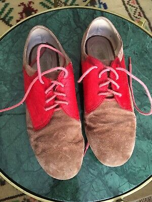 £14 • Buy Lace Up Flats Brown Suede And Red Ponny Size 6