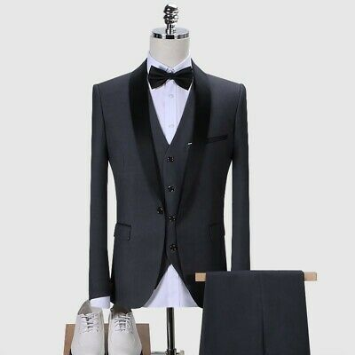 $ CDN176.98 • Buy Mens Tuxedo One Button Slim Fit 3PCS Shawl Collar Wedding Suit Bridegroom Blazer