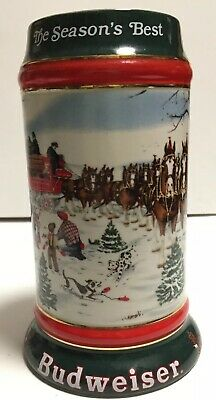 $ CDN43.29 • Buy 1991 Budweiser Holiday Beer Stein The Season's Best By Susan Sampson Clydesdales