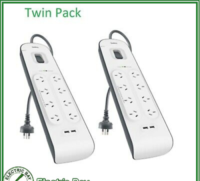 AU115 • Buy Twin Pack 2 X Belkin 8 Way Outlet Surge Protector Power Board Economy 2.4A USBx2
