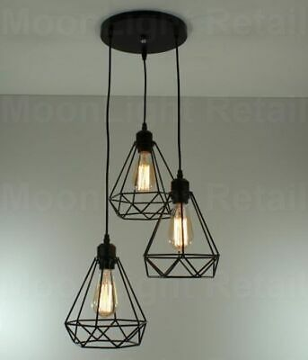 Modern 3 Way Ceiling Pendant Cluster Light Fitting Lights Black Cage Style • 24.49£
