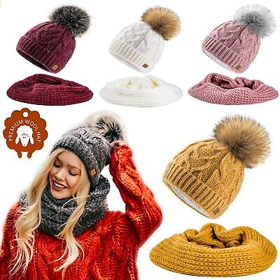 Set Scarf Or Hat Women Winter Mohair Wool Knitted Beanie Hat Worm Neck Fleece  • 9.99£