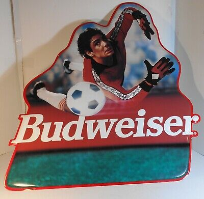 $ CDN62.10 • Buy Rare 1993  Budweiser Beer  Metal Sign Featuring Soccer/Football Goalkeeper