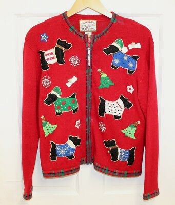 $15.70 • Buy Heirloom Collectibles Scottie Dog Christmas Sweater Sz Petite M Bling Embroidery