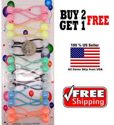 $4.98 • Buy Pastel Colors Girl Kids Scrunchie Beads Hair Tie Ball Ponytail Holder Band