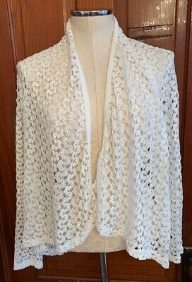 $19 • Buy Medium Sans Souci White Lace Open Jacket Cardigan Lagenlook Women's