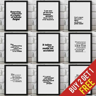 The Great Gatsby Poster Framed Quotes Book/movie/film Wall Artwork Prints • 3.49£