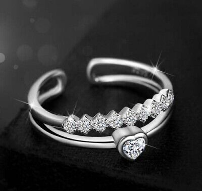AU8.25 • Buy Women Girl Heart Crystal Rhinestone Ring Engagement Wedding Adjustable Ring Gift