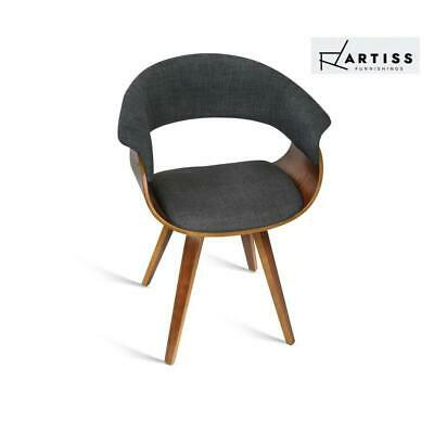 AU154.83 • Buy Artiss MIGUEL Dining Chairs Bentwood Wooden Chair Kitchen Home Fabric Charcoal