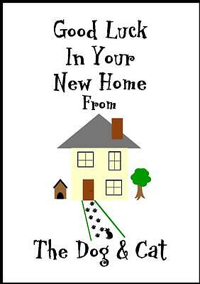 Good Luck In Your New Home Card From The Dog & Cat - 1C • 2.99£