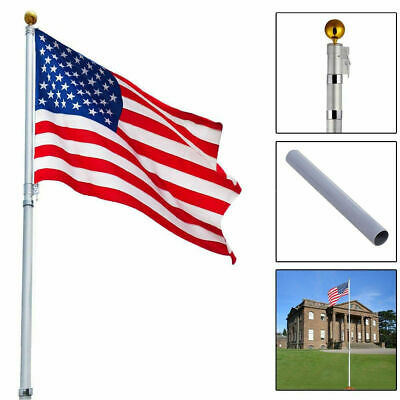 16Ft Telescoping Flagpole W/ 1 US America Flag Kit Outdoor Gold Ball Aluminum • 35.99$