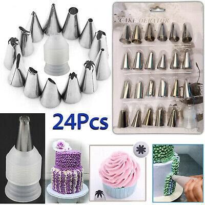24 Pieces Icing Piping Nozzle Tool Set Pastry Cake Cupcake Sugarcraft Decorating • 3.49£