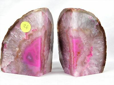 AB24) Pink Agate Quartz Crystal Bookends CD DVD Ends - Great Gift / Home Decor • 47.95£