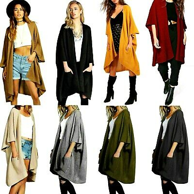 £15.99 • Buy Womens Chunky Knitted Sweater Open Front Pocket Coat Long Midi Cardigan Coat Top