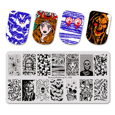 $8.11 • Buy Halloween Stamp Templates Skull Spider Nail Art Stamping Plates Nails Stencil US