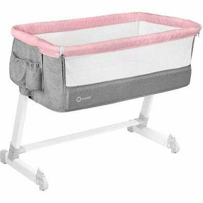 BABY Crib Bedside Cot Bed Lionelo Theo Pink Mattress Mosquito Next To Me  • 90£