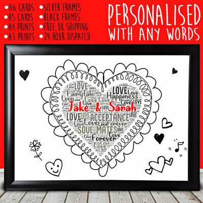 Personalised Cute Heart Anniversary Special Gift For Him Her 1st 5th 10th 20th • 5.99£